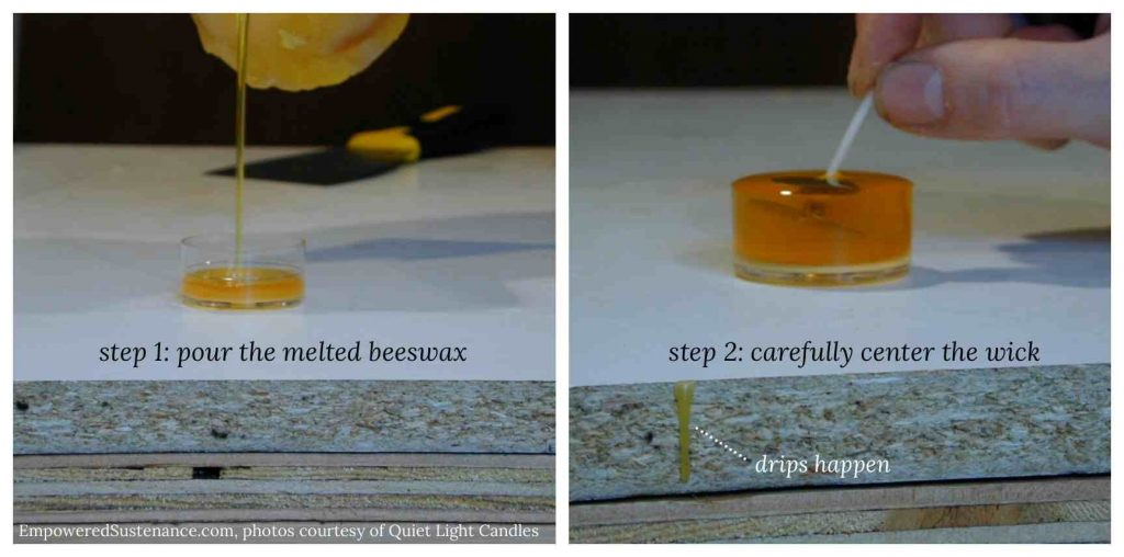 pouring beeswax candle collage