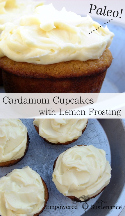 Paleo cardamom cupcakes (made with coconut flour) and creamy lemon frosting, yum!