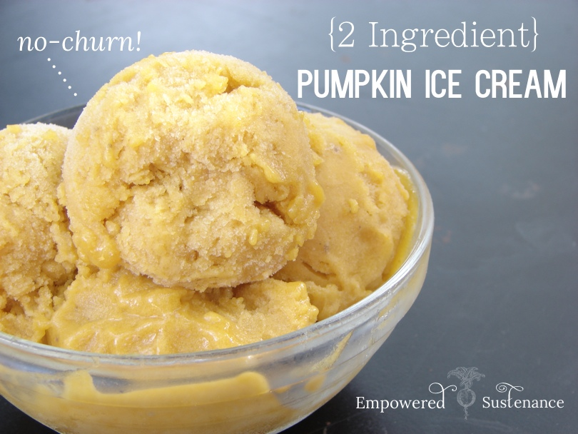 Two ingredient, no-churn pumpkin ice cream (dairy and refined sugar free!)