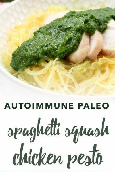 image of paleo spaghetti squash chicken pesto