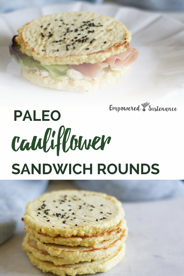 Paleo Sandwich Rounds recipe suitable for any sandwich filling or hamburgers. These cauliflower sandwich thins are gluten-free, grain-free, refined sugar free, and dairy free to reduce inflammation and improve wellbeing. #cauliflower #healthy #glutenfree #paleodiet #paleorecipe #paleosnack #primal #whole30 #dairyfree #eggfree #sugarfree #nutfree