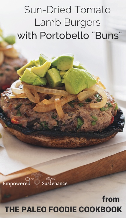 "Paleo lamb burgers and portobello ""buns"" from The Paleo Foodie Cookbook"