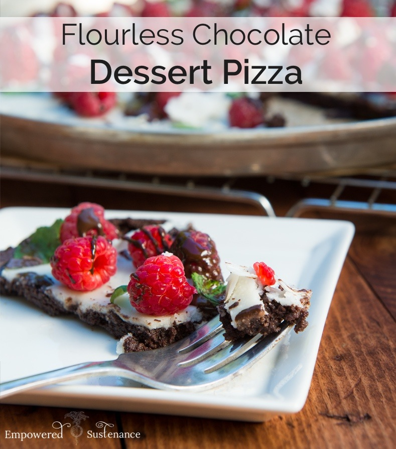 Flourless chocolate dessert pizza