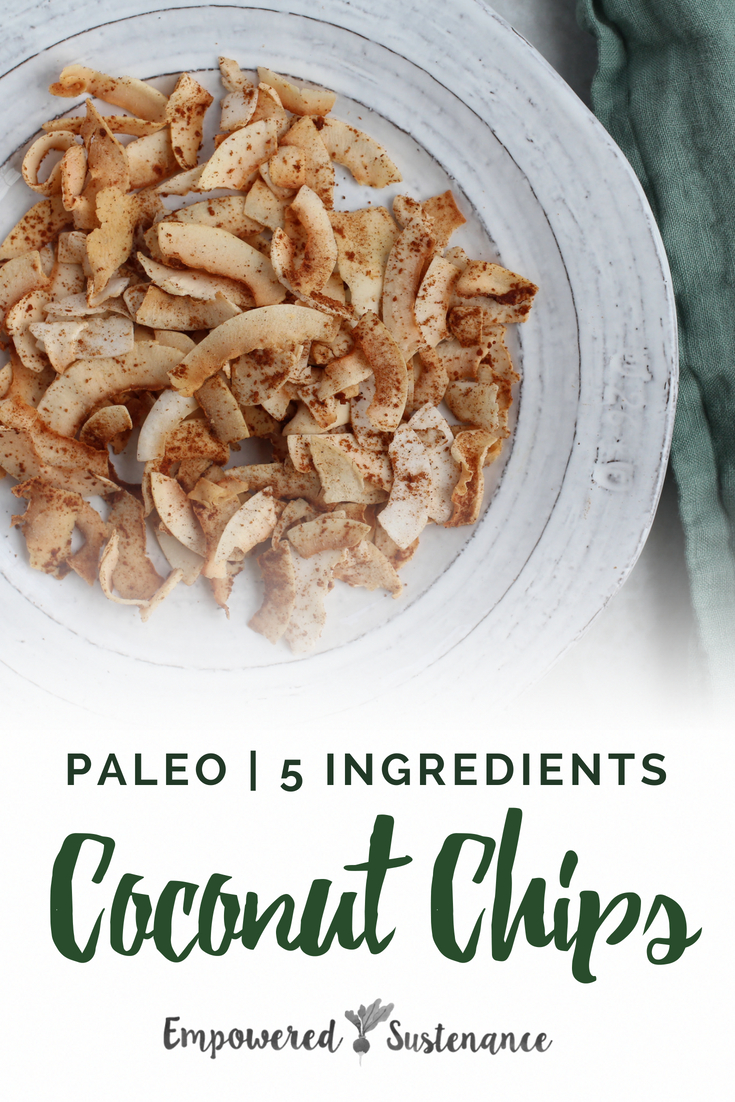 Made with a sprinkle of cinnamon and coconut sugar, this Coconut Chips recipe is a quick and healthy snack. This recipe is suitable for paleo and autoimmune paleo diets. The Autoimmune Paleo Protocol is gluten-free, dairy-free, egg-free, nut-free, seed-free, and nightshade-free to promote recovery from autoimmune diseases. #healthy #glutenfree #paleodiet #paleorecipe #paleosnack #paleodessert #primal #dairyfree #eggfree #fiveingredients