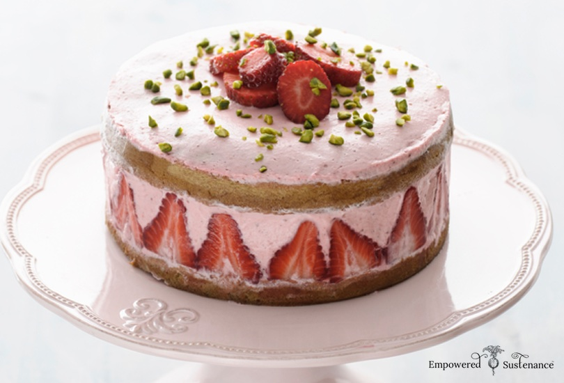Strawberry coconut flour cake