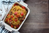 Paleo Spaghetti Squash with Pancetta and Peppers