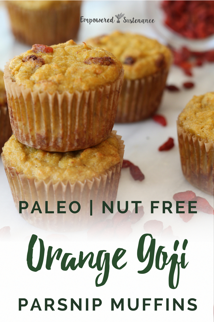 These light, fragrant Paleo Parsnip Muffins feature nutrient-dense coconut flour, jewel-toned goji berries, and parsnips for a warm, nutty flavor. Paleo recipes are gluten-free, grain-free, refined sugar free, and dairy free to reduce inflammation and improve wellbeing. #coconutflour #healthy #glutenfree #paleodiet #paleorecipe #paleosnack #paleodessert #dairyfree #eggfree #sugarfree #nutfree