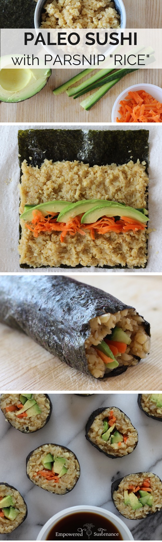 paleo sushi, made with parsnip rice