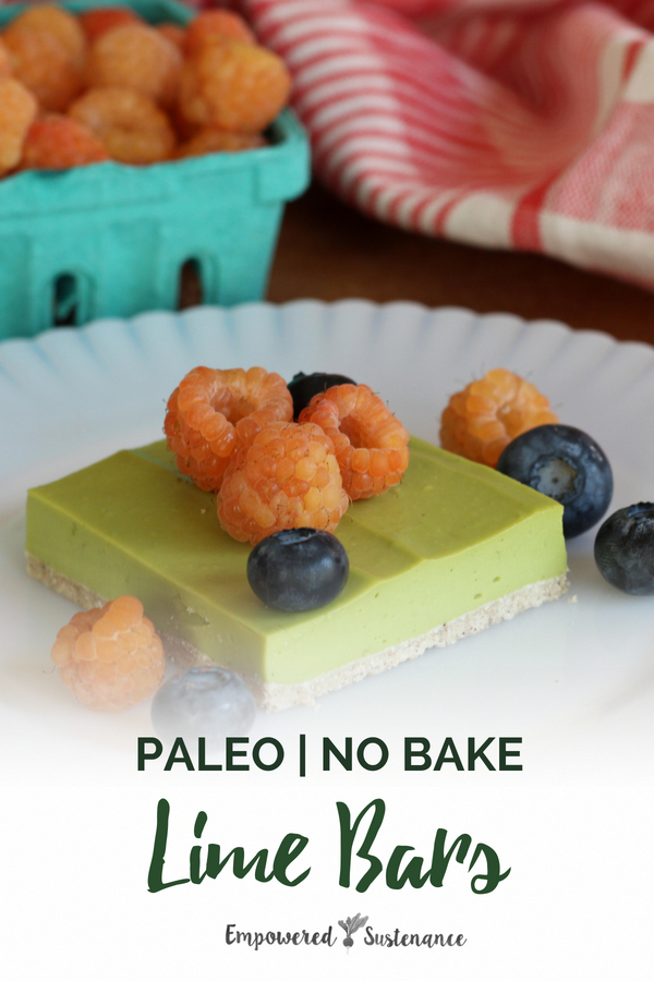 These vibrant Paleo Lime Bars feature a shortbread-like crust topped with a creamy lime filling, they are dairy free, gluten-free and refined sugar free, which makes them the perfect paleo dessert. Fresh avocados are the secret ingredient!  #avocado #paleodessert #healthy #glutenfree #paleodiet #paleorecipe #paleosnack  #dairyfree #eggfree #sugarfree #nutfree