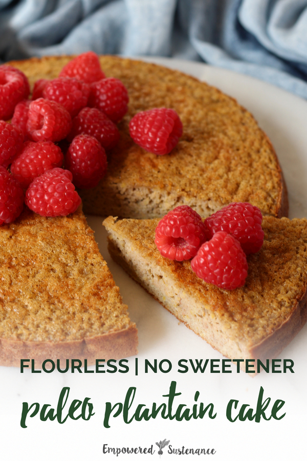 This paleo-friendly Flourless Plantain Cake tastes like banana bread, but requires no sweetener or grains. Simply blend all ingredients, bake and enjoy. Paleo recipes are gluten-free, grain-free, refined sugar free, and dairy free to reduce inflammation and improve wellbeing. #healthy #glutenfree #paleodiet #paleorecipe #paleosnack #paleodessert #primal #dairyfree #eggfree #sugarfree #nutfree