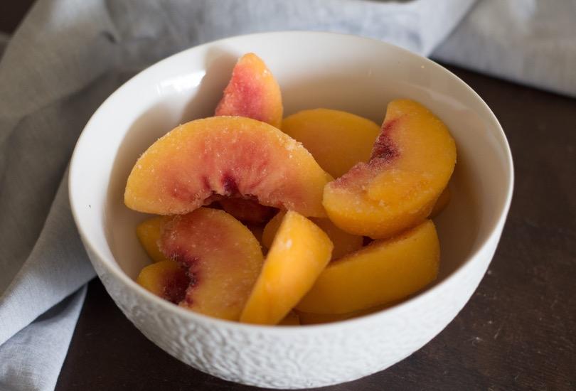 peach basil sorbet recipe, easily made in a blender