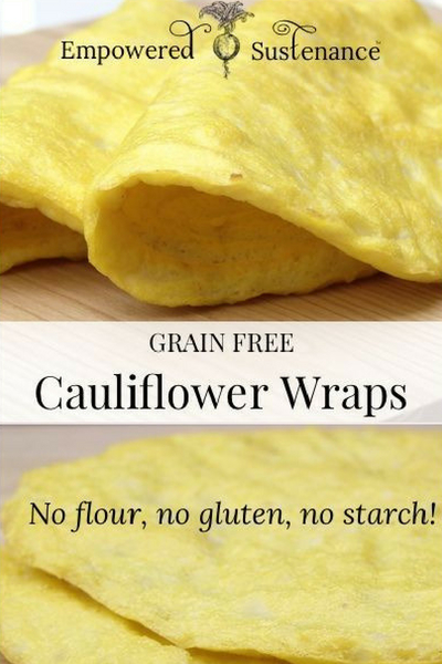 image of grain free cauliflower wraps