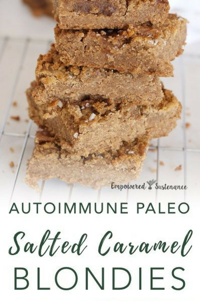 image of autoimmune paleo salted caramel blondies