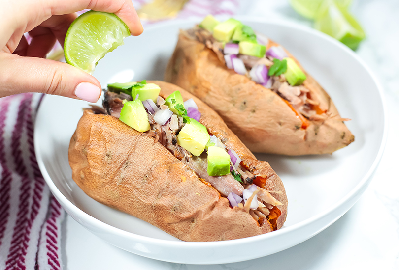 carnitas stuffed sweet potatoes recipe (autoimmune paleo)