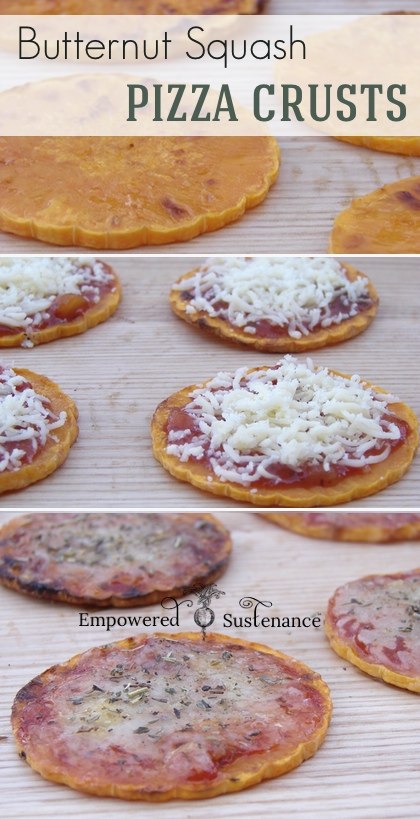 Individual grain free pizza crusts made with butternut squash