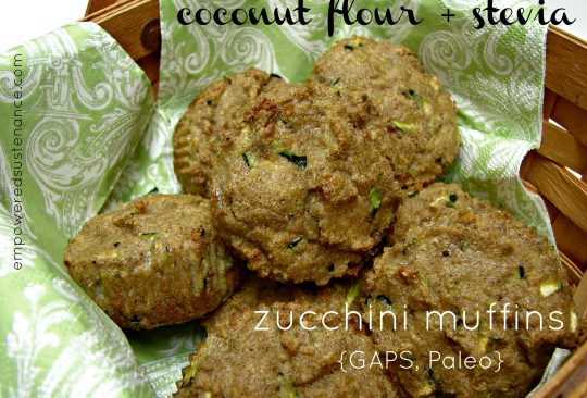 Coconut Flour and Stevia Zucchini Muffins