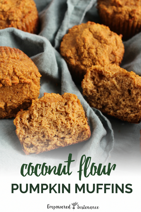 Finally, a recipe for coconut flour pumpkin muffins that are light and moist, not dense and heavy! These paleo muffins are gluten-free, grain-free, refined sugar free, and dairy free to reduce inflammation and improve wellbeing. #coconutflour #paleobreakfast #healthy #glutenfree #paleodiet #paleorecipe #paleosnack #dairyfree #eggfree #sugarfree #nutfree