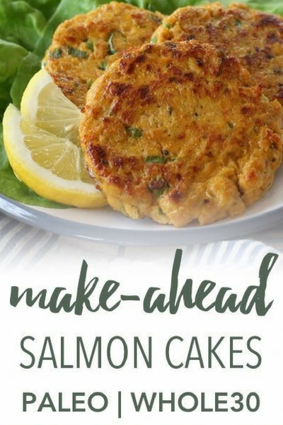 image of paleo and whole30 salmon cakes
