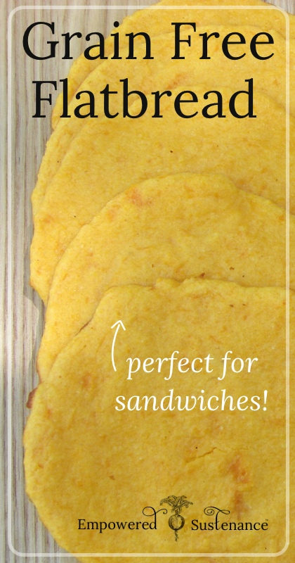 Grain Free Butternut or Sweet Potato Flatbread makes an easy and healthy bread alternative