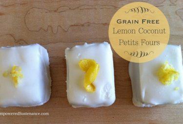 Grain free Lemon Coconut Petit Fours. A healthy treat and so cute!