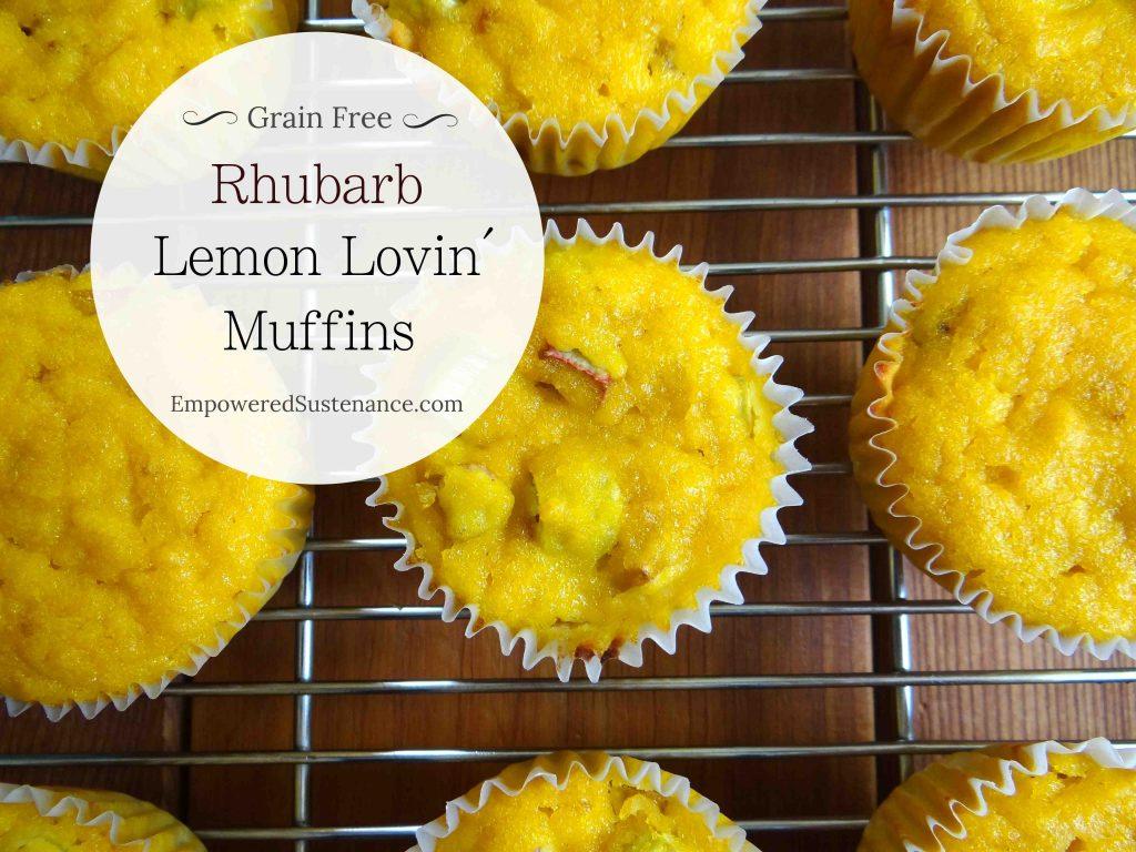 Paleo rhubarb lemon muffins, made with coconut flour