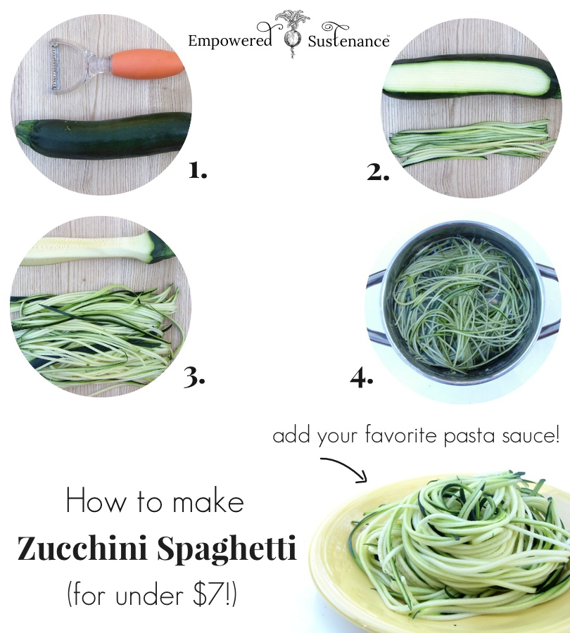 how to make zucchini noodles, a healthy pasta substitute, for under $7. No bulky and expensive spiraling tool needed!