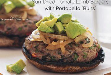 "Paleo lamb burgers and portobello ""buns"" from The Paleo Foodie Cookbook"