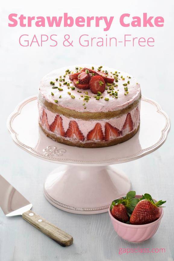 Strawberry coconut flour cake
