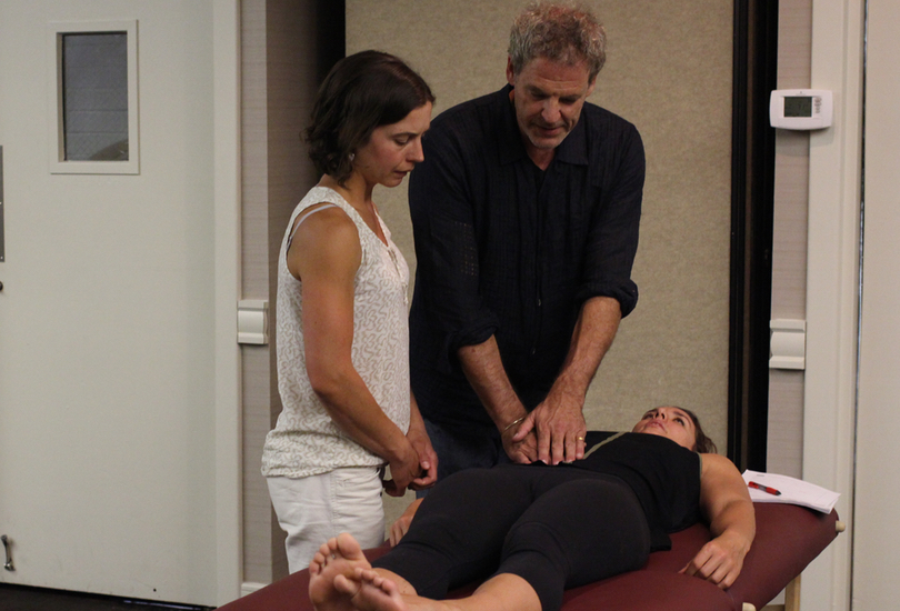 NTA lead instructor John Tjenos coaching a student on a palpation for the small intestine.