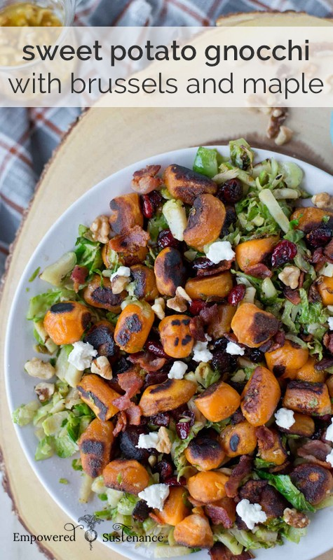 paleo sweet potato gnocchi with brussels and maple