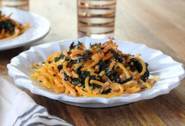 Butternut squash noodles with kale and chevré - a vibrant five-ingredient dish!