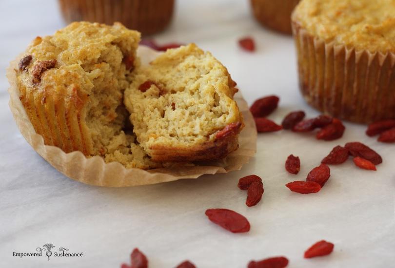 paleo parsnip muffins with orange and goji berries