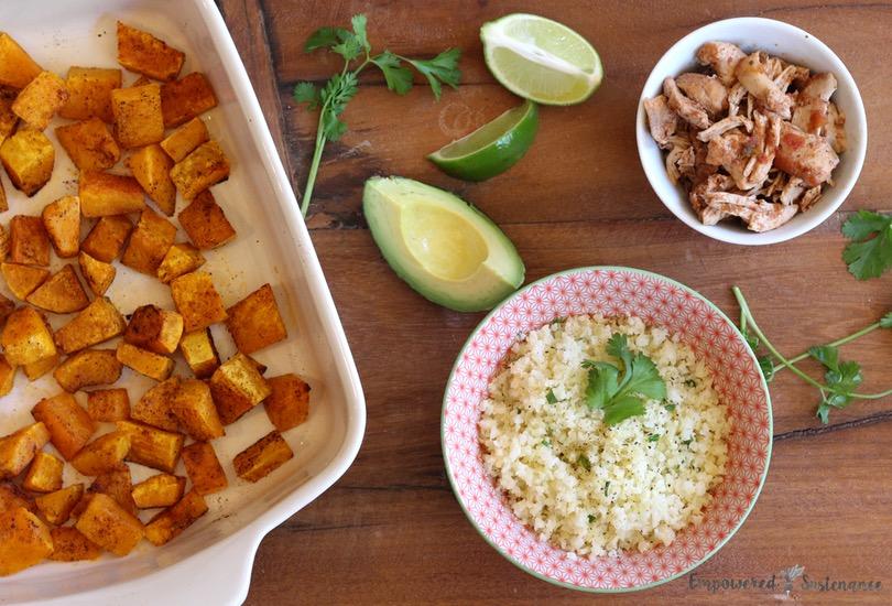 Paleo Burrito Bowl - Like DIY Chipotle! Shredded chicken + spiced butternut + cilantro cauliflower rice