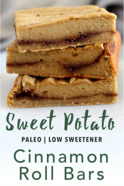 image of paleo sweet potato cinnamon roll bars