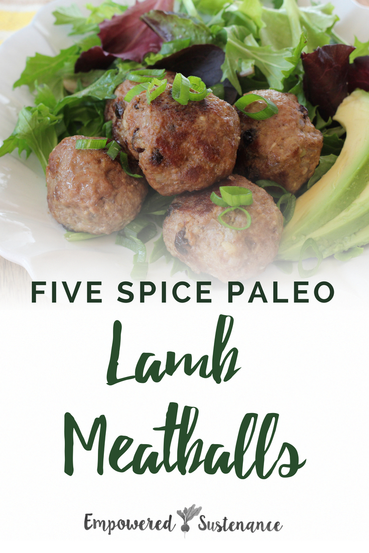 Studded with currants and flavored with the warming Chinese Five Spice blend, these paleo lamb meatballs are a one-step flavor bomb. Paleo recipes are gluten-free, grain-free, refined sugar free, and dairy free to reduce inflammation and improve wellbeing. #healthy #glutenfree #paleodiet #paleorecipe #primal #whole30 #paleodinner #coconutflour #dairyfree #eggfree #sugarfree
