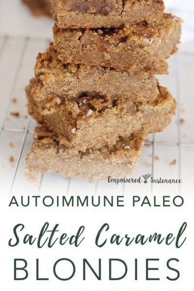 image of autoimmune paleo salted caramel blondies