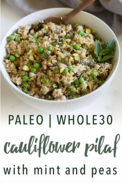image of paleo cauliflower pilaf