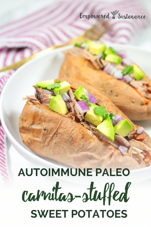These Carnitas Stuffed Sweet Potatoes make a hearty but healthy meal. The recipe requires only a few minutes hands-on time, thanks to the slow cooker. Autoimmune Paleo and Whole30 friendly. The Autoimmune Paleo Protocol is gluten-free, dairy-free, egg-free, nut-free, seed-free, and nightshade-free to promote recovery from autoimmune diseases. #aip #autoimmunepaleo #sweetpotato #glutenfree #dairyfree #nutfree #nightshadefree #eggfree #healthy  #paleodiet #paleorecipe #primal #whole30