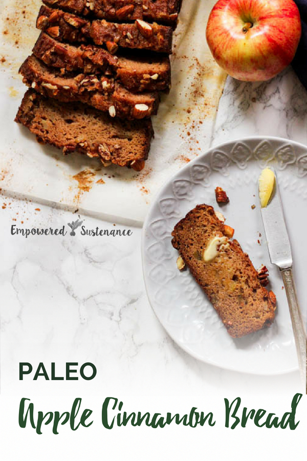 This Paleo Apple Cinnamon Bread recipe features coconut and arrowroot flour. It's low in sweetener but high in flavor, thanks to the apples and warm spices. This paleo recipe is gluten-free, grain-free, refined sugar free, and dairy free to reduce inflammation and improve wellbeing. #coconutflour #paleodessert #paleosnack #paleobreakfast #healthy #glutenfree #paleodiet #paleorecipe #primal #dairyfree #eggfree #sugarfree #nutfree