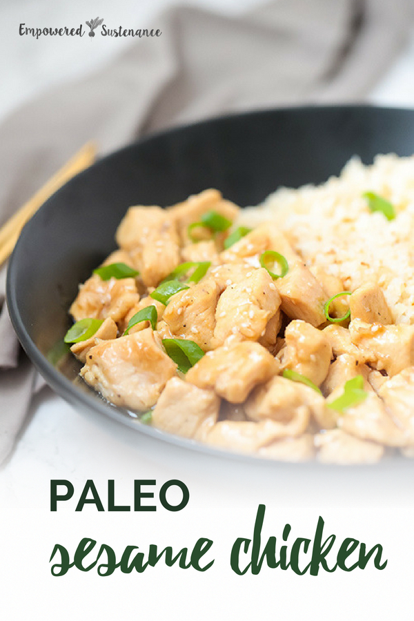 You won't find MSG or refined sugar in this Paleo Sesame Chicken recipe. As a result, it tastes fresher and more flavorful than versions made with those synthetic ingredients. Paleo recipes are gluten-free, grain-free, refined sugar free, and dairy free to reduce inflammation and improve wellbeing. #healthy #glutenfree #paleodiet #paleorecipe #primal #whole30 #paleochicken #paleodinner #dairyfree #eggfree #sugarfree #nutfree