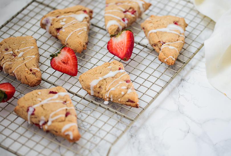Autoimmune paleo scones with strawberries, vanilla, and a coconut glaze