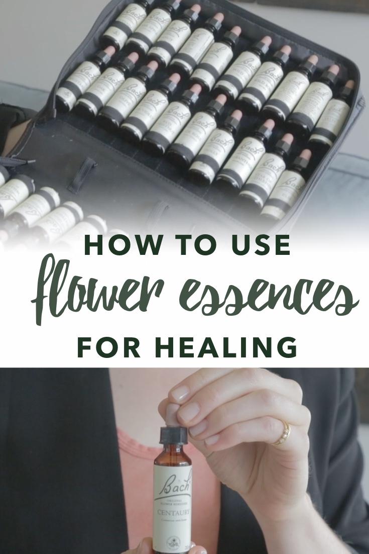 Vertical image of flower essence bottles for healing